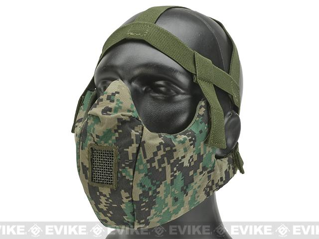 6mmProShop V5 Breathable Padded Dual Layered Nylon Half Face Mask (w/ Bump Helmet Straps) - Digital Woodland