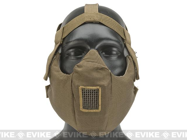 6mmProShop V5 Breathable Padded Dual Layered Nylon Half Face Mask (w/ Bump Helmet Straps) - Tan