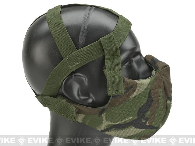 6mmProShop V5 Breathable Padded Dual Layered Nylon Half Face Mask (w/ Bump Helmet Straps) - Woodland