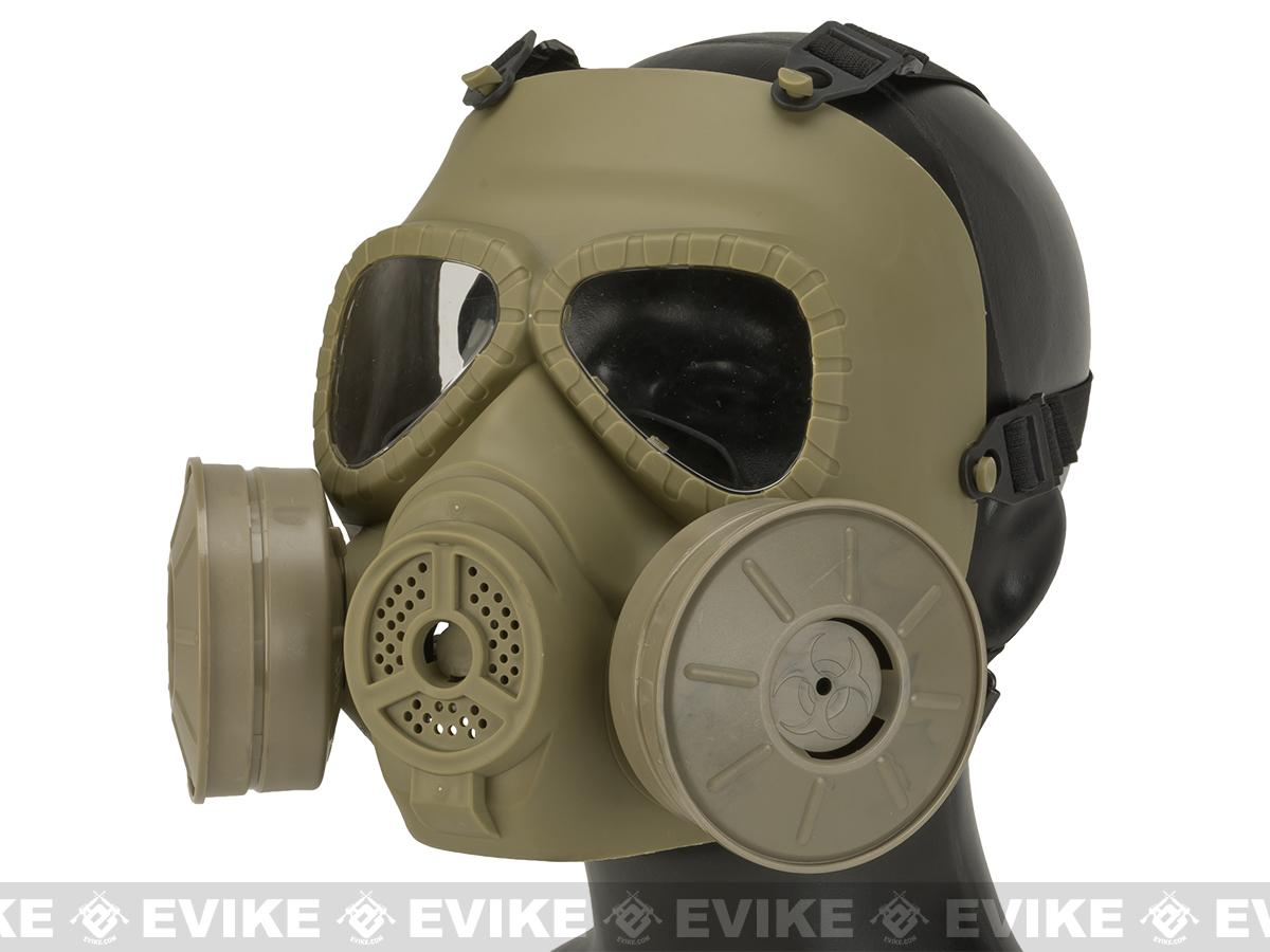 Matrix Mock Costume Gas Mask with Twin Fans - Tan