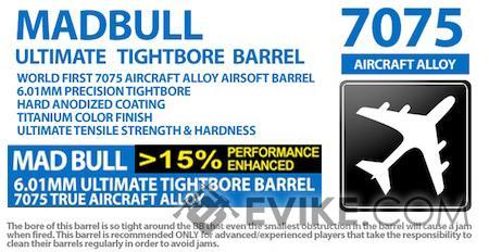 Madbull Airsoft Ultimate 6.01mm 7075 Aircraft Aluminum Tightbore Barrel for AEG (Length: 229mm)