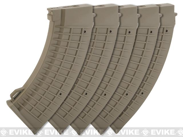 King Arms AK 110 rounds Thermal Style Mid-Cap Magazine (Color: Dark Earth / Set of 5 Magazines)