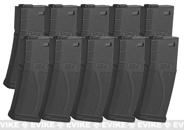 Blue Box 140rd Polymer Midcap Magazine for M4 / M16 Series Airsoft AEG Rifles (Color: Black / Box of 10)