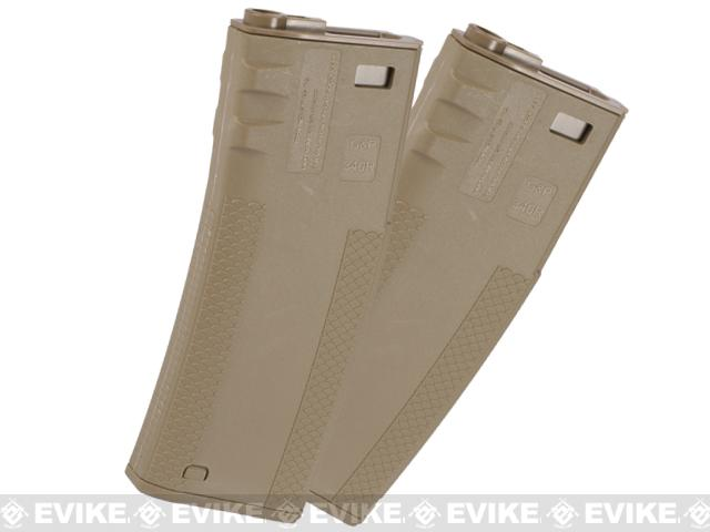 TROY Industry 340rd Polymer Battle Magazine for M4 M16 Airsoft AEG Rifles by G&P Socom Gear - Dark Earth (Set of 2)