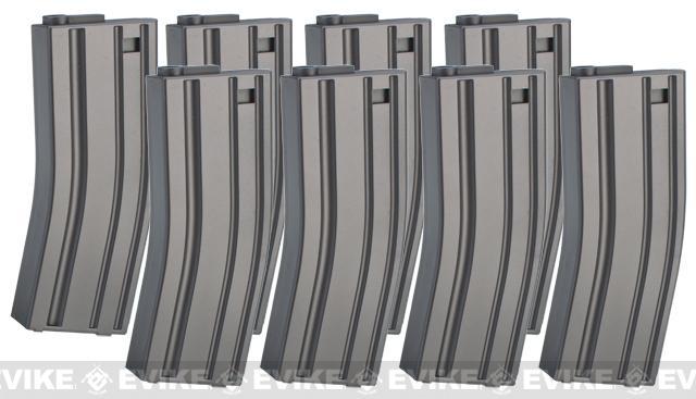 MAG 130 rd Midcap Magazine for M4 / M16 Series Airsoft AEG (Box Set of 8) - Black