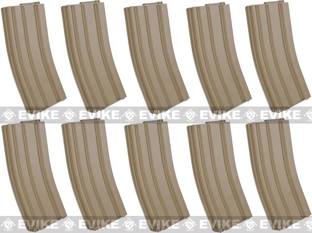 6mmProShop 140rd Midcap Magazine for M4 M16 Series Airsoft AEG Rifles - Desert / Set of 10