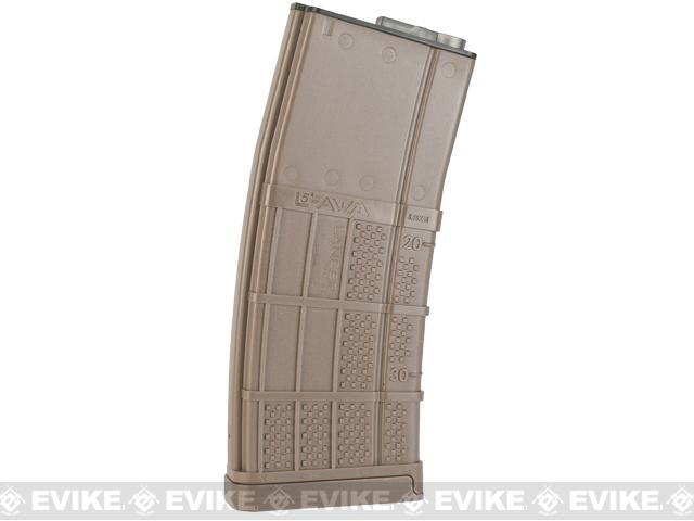 SOCOM Gear 190rd Lancer Systems Licensed L5 AWM Airsoft Mid-Cap Magazines - Set of 5 / Dark Earth