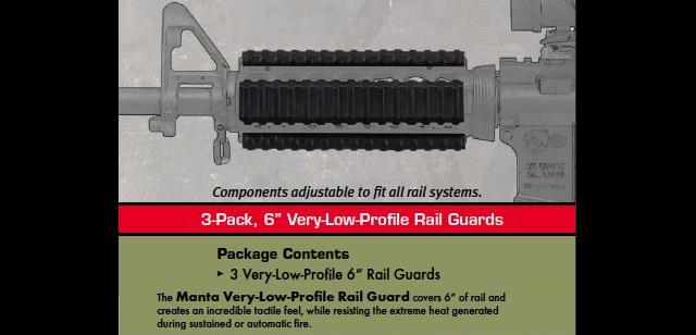 MANTA 6 Very Low Profile Rail Guard - OD Green (3 Pack)