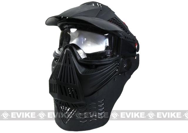 Transformer Modular Airsoft / Paintball Mask w/ Visor & Neck Guard - Black