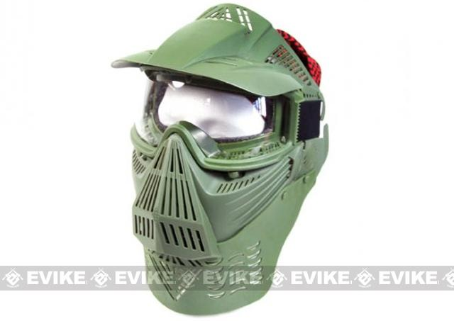 Transformer Modular Airsoft / Paintball Mask w/ Visor & Neck Guard - OD Green