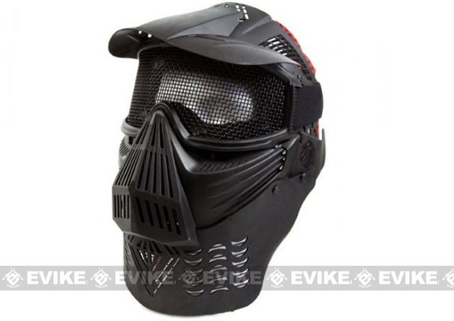 Mesh Transformer Modular Airsoft Mask w/ Visor & Neck Guard - Black