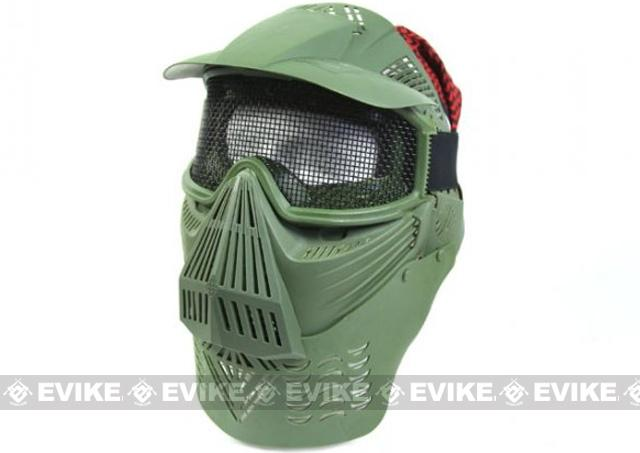 Mesh Transformer Modular Airsoft Mask w/ Visor & Neck Guard - OD Green