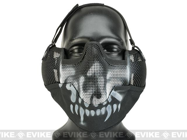 Matrix Iron Face Carbon Steel Striker Gen2 Metal Mesh Lower Half Mask - Skull