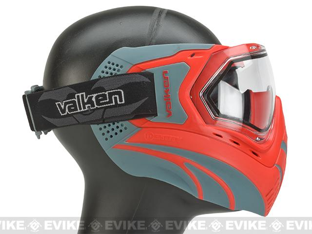 z Valken Identity Full Seal Paintball Goggles Red/Grey - Clear Lens