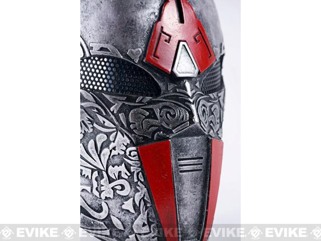 Evike.com R-Custom Fiberglass Wire Mesh Acolyte Type 2.5 Mask - Silver / Red