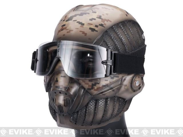 Evike.com R-Custom Fiberglass Crysis Mask w/ Full Seal Goggles - Digital Desert