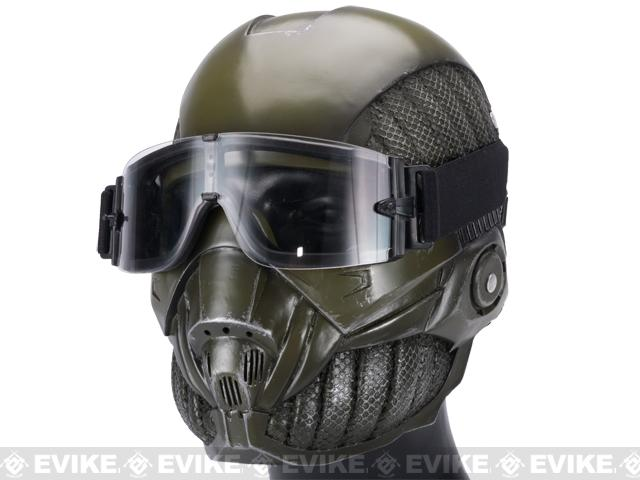 Evike.com R-Custom Fiberglass Crysis Mask w/ Full Seal Goggles - OD Green