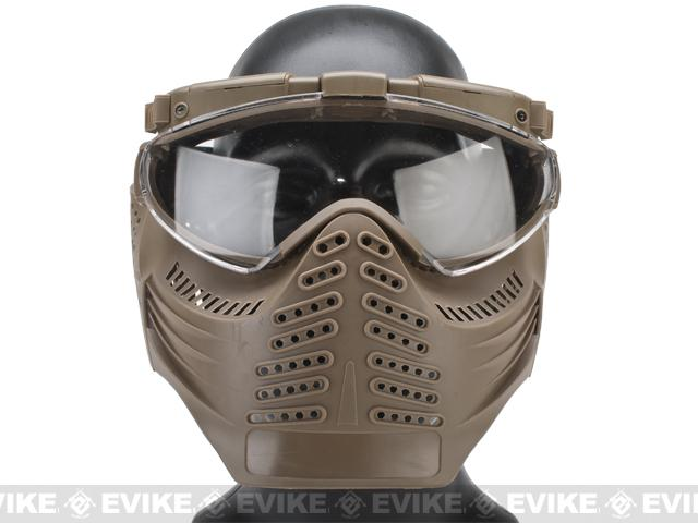 z Pro-Goggle Airsoft Full Face Mask w/ Integrated Fan & LED Illuminator - Dark Earth
