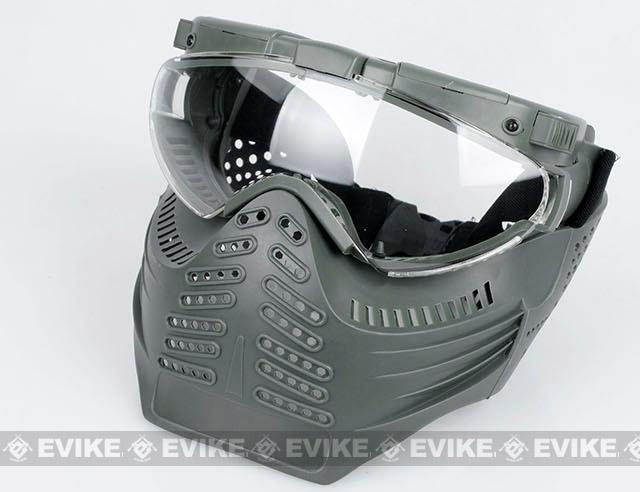 Pro-Goggle Airsoft Full Face Mask w/ Integrated Fan & LED Illuminator - Ranger Green