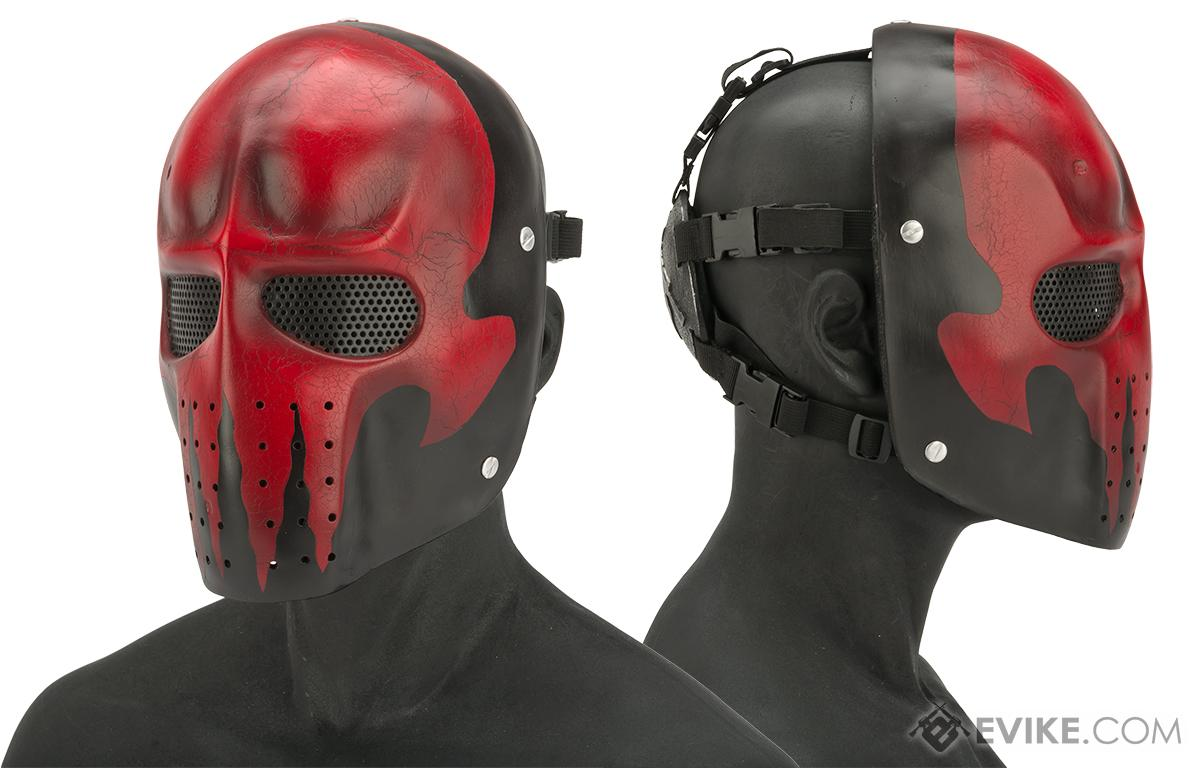 Evike.com R-Custom Fiberglass Wire Mesh Army Mask - Red Skull