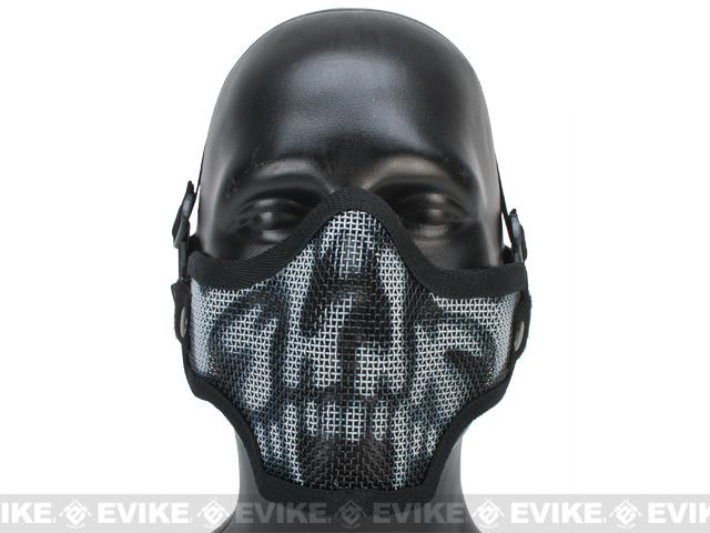 Matrix Iron Face Carbon Steel Mesh Striker V1 Lower Half Mask - Black Skull