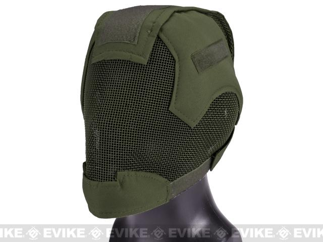 Matrix Striker Helmet Full Face Carbon Steel Mesh Mask / Helmet (Color: OD Green)