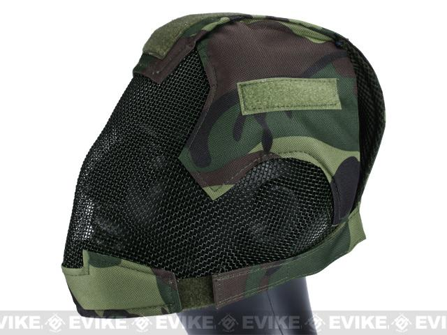 Matrix High Speed Striker Helmet Full Face Carbon Steel Mesh Mask Helmet - Woodland Camo