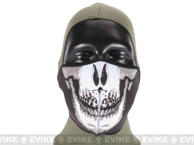 Tactical Ghost Neoprene 1/2 Face Mask - Black & White Skull