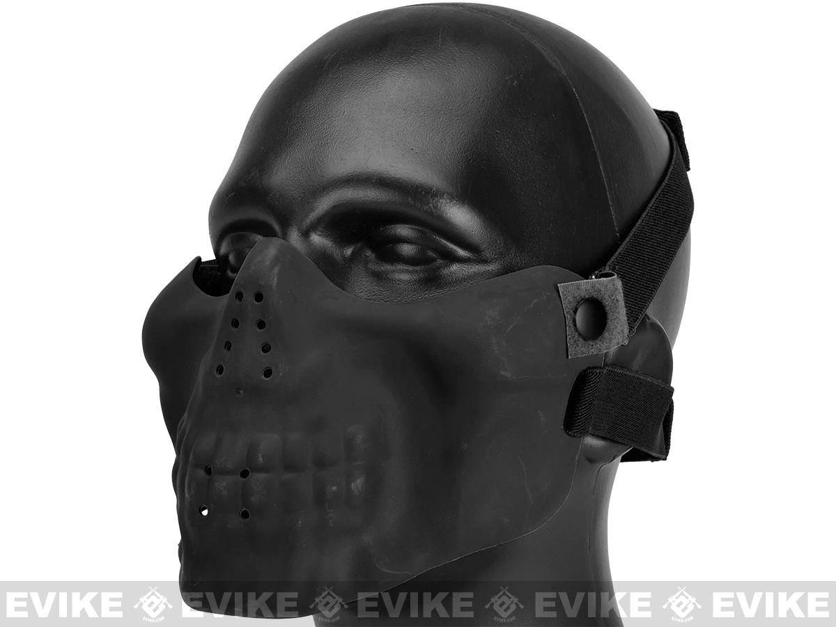 Matrix Iron Face Skull Imprint Nylon Lower Half Mask - Black