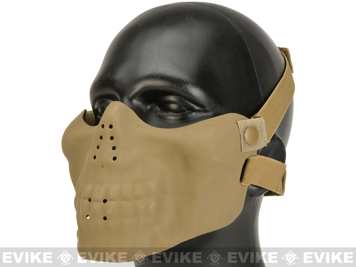 Matrix Iron Face Skull Imprint Nylon Lower Half Mask - Tan