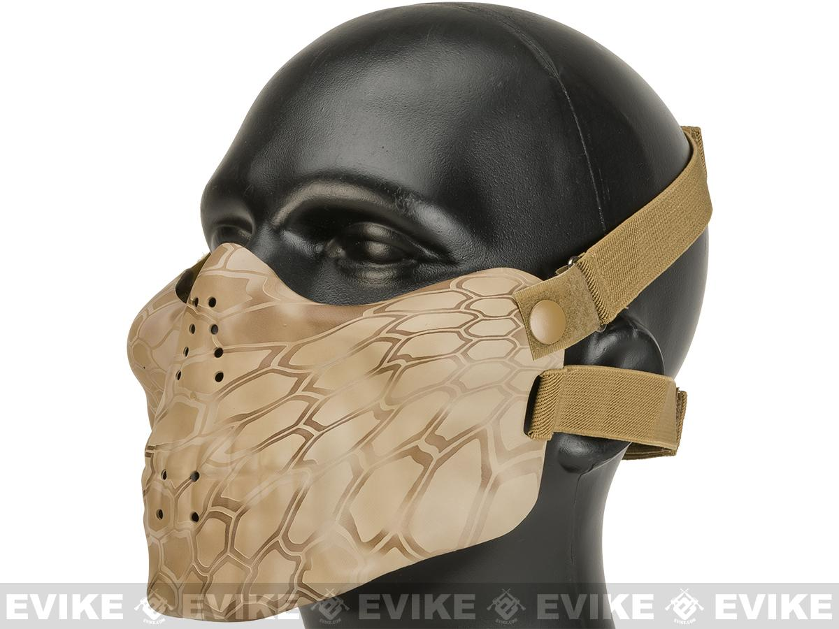 Matrix Iron Face Skull Imprint Nylon Lower Half Mask - Desert Serpent