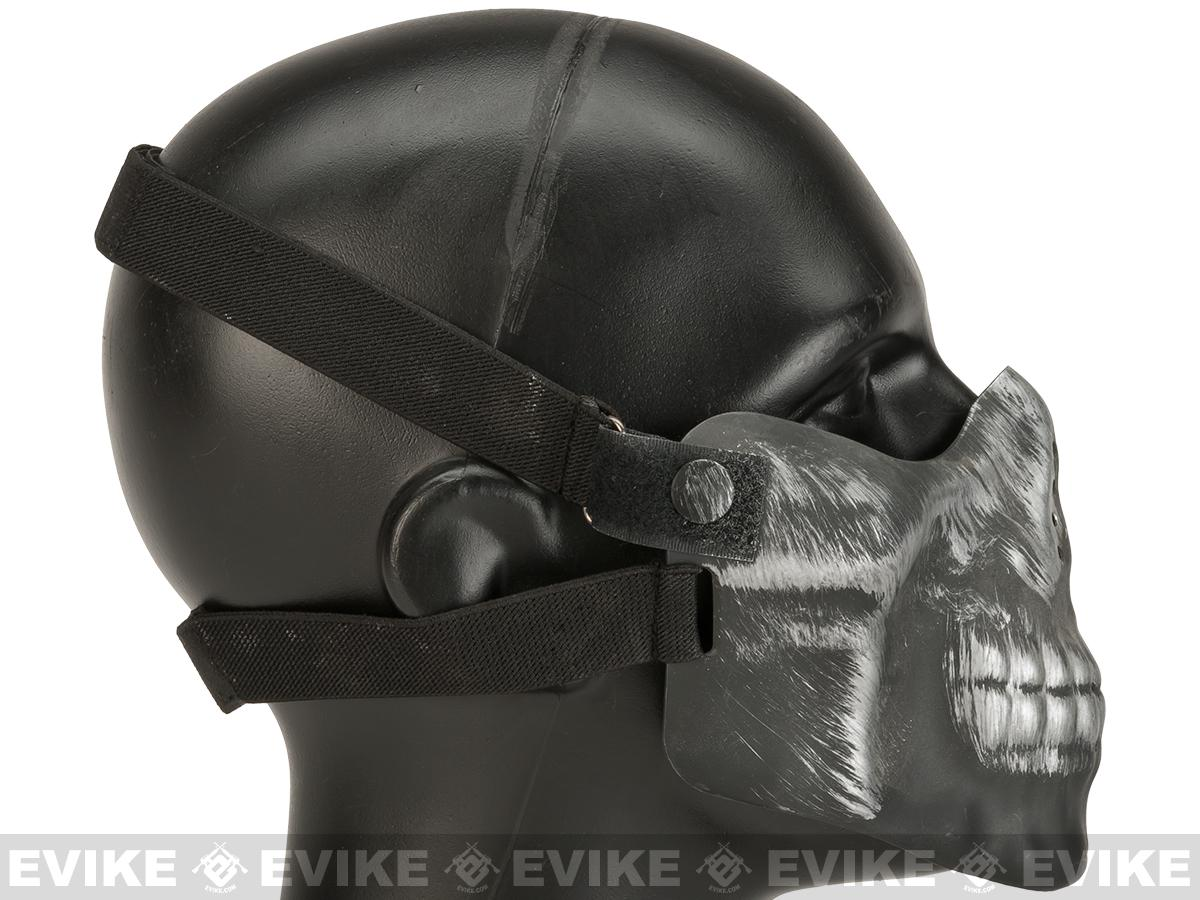 Matrix Iron Face Skull Imprint Nylon Lower Half Mask - Silver