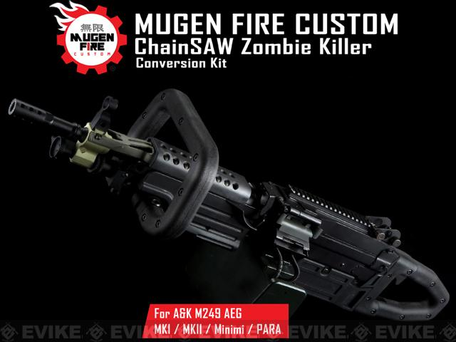 Mugen Fire Custom ChainSAW Zombie Killer Conversion Kit for A&K M249 Series Airsoft Machine Guns
