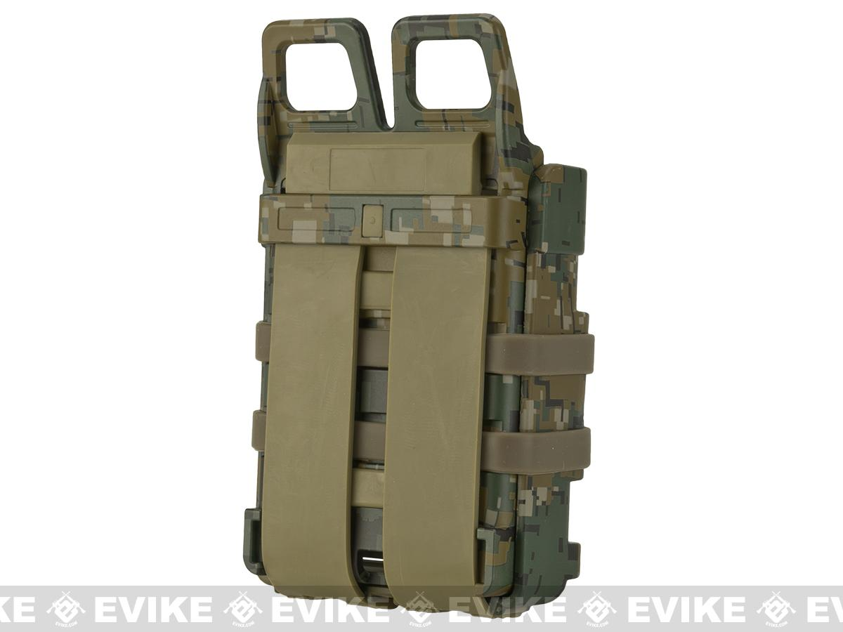 Matrix High Speed MOLLE Compatible Airsoft M4 Mag Carrier Set of 2 - Digital Woodland