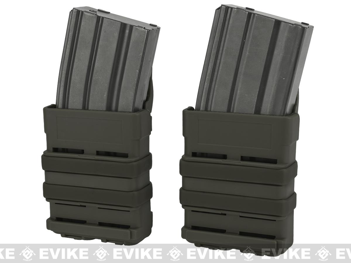 Matrix High Speed MOLLE Compatible Airsoft M4 Mag Carrier Set of 2 - OD Green