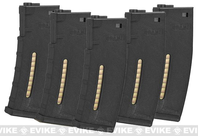 Evike.com BAMF 190rd Polymer Mid-Cap Magazine for M4 / M16 Series Airsoft AEG Rifles - Black (5 pack)