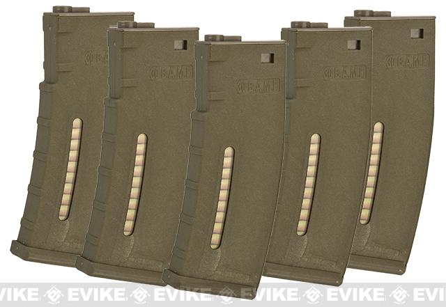Evike.com BAMF 190rd Polymer Mid-Cap Magazine for M4 / M16 Series Airsoft AEG Rifles - Tan (5 pack)