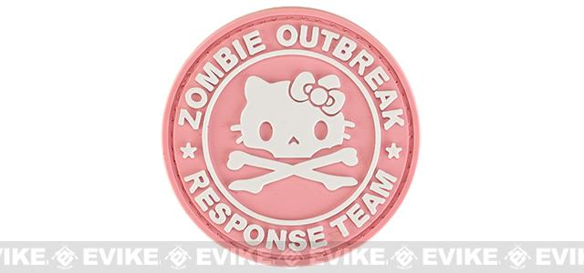 Zombie Outbreak Kitty Response Team 60mm PVC Hook and Loop Patch - Pink