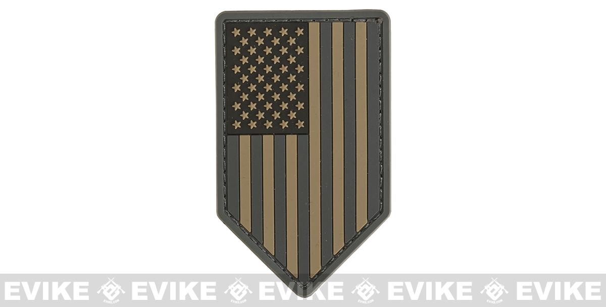 Mil-Spec Monkey PVC Vertical US Flag Patch - ACU Dark