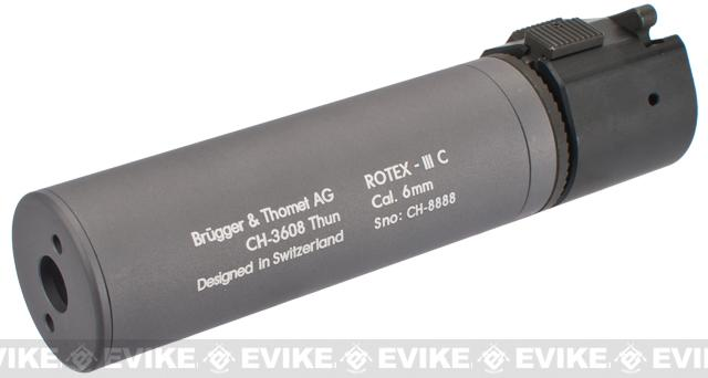 B&T Rotex-IIIA Compact Mock Silencer for M4 Series Airsoft Rifles - Grey