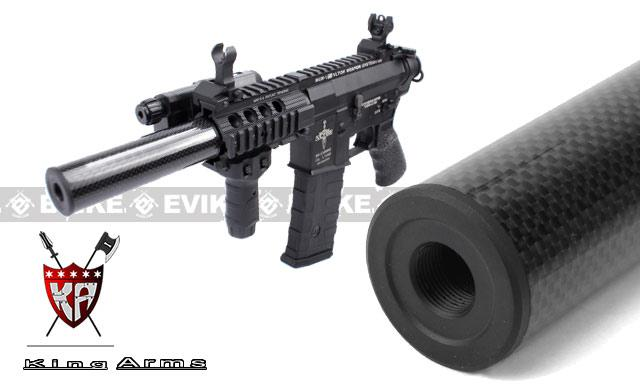 King Arms Carbon Fiber Airsoft Mock Silencer / Barrel Extension - 125mm