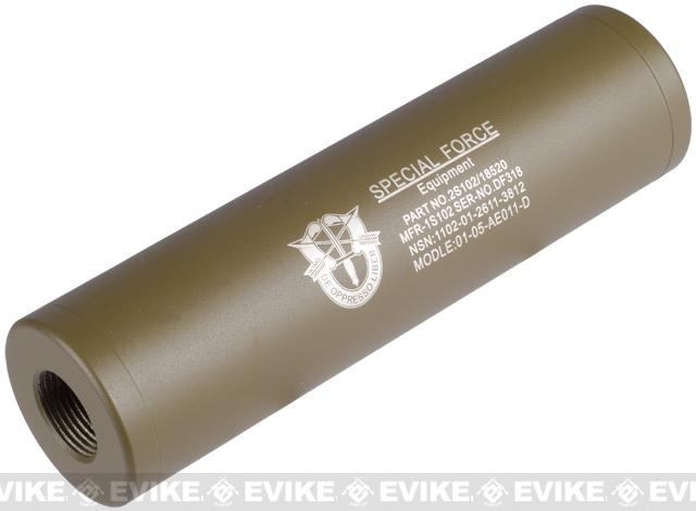 Matrix Op. High Speed Light Weight Airsoft Mock Silencer / Barrel Extension - 30 X 110mm (Special Forces) - Tan