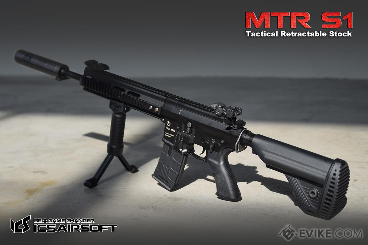 ICS MTR S1 Tactical Retractable Stock w/ Buffer Tube for M4/M16 Series Airsoft AEGs - Black