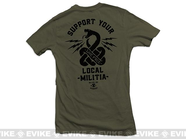 Black Rifle Division Support your local militia T-shirt - Military Green (Size: Large)