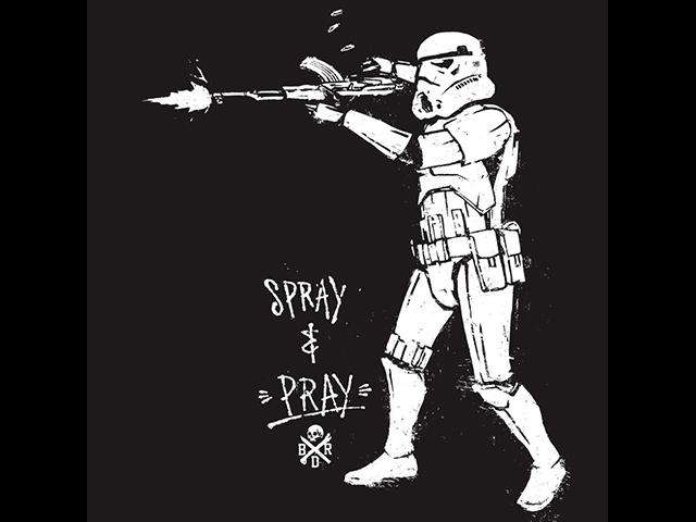 Black Rifle Division Spray and Pray T-shirt - Black (Size: Large)