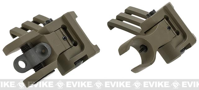 G&P Tactical One O'Clock Off-Set Flip-Up Iron Sights for Weaver / Picatinny / 20mm rails - Sand