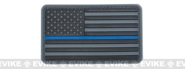 US Flag PVC Velcro Rubber Patch - Regular / Gray & Blue