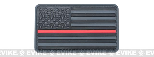 US Flag PVC Hook and Loop Rubber Patch - Regular / Gray & Red