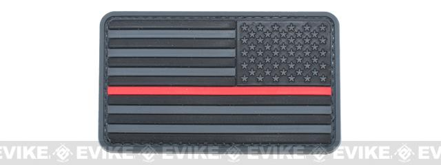 US Flag PVC Hook and Loop Rubber Patch - Reverse / Gray & Red