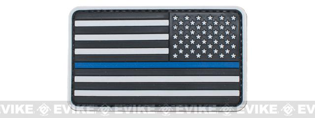 US Flag PVC Velcro Rubber Patch - Reverse / White & Blue